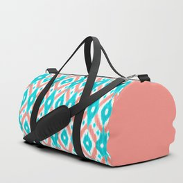 Artsy Coral Teal Abstract Ikat Geometric Pattern Duffle Bag