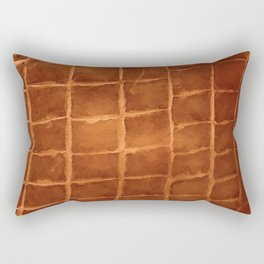 Tobacco-Brown Vintage Leather Textured Pattern Rectangular Pillow