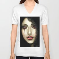 black widow V-neck T-shirts featuring Black Widow by PiccolaRia