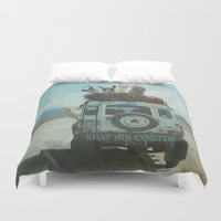 jeep Duvet Covers featuring NEVER STOP EXPLORING II SUMMER EDITION by Monika Strigel®