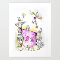 literary Art Prints featuring Literary Fort by Genevieve Santos