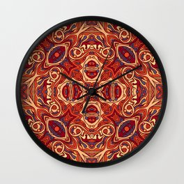 Abstract colorful hand drawn curly pattern design Wall Clock