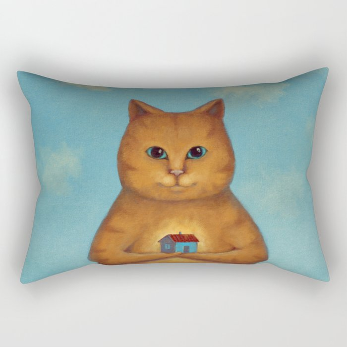 Every Cat need a Home. Ginger Cat Illustration Rectangular Pillow