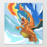 charizard Canvas Prints featuring Charizard by Pablo Rey