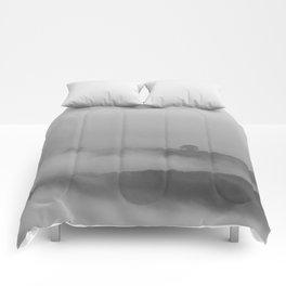 Black and white foggy landscape Comforters