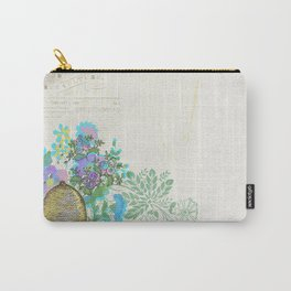 Bees and Blooms III: Watercolor illustrated honeybee & flower print Carry-All Pouch