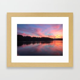 Sunset on the river - Sesto Calende, lago maggiore (Italy) Framed Art Print