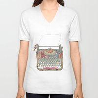 karen V-neck T-shirts featuring I DON'T KNOW WHAT TO WRITE YOU by Bianca Green