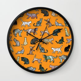 Cats shaped Marble - Black Orange Halloween Wall Clock