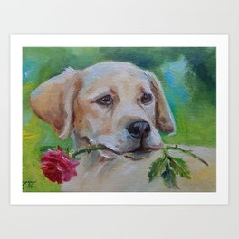 Labrador with rose flower Cute dog portrait Pet painting Valentine gift Art Print