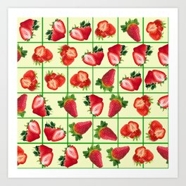 Strawberries pattern Art Print