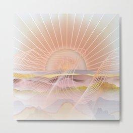 Glittering Sunset Waves Metal Print