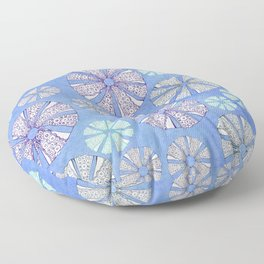 sea urchin blue watercolor Floor Pillow