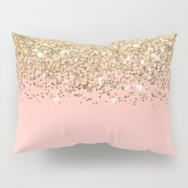 Girly Chic Gold Confetti Pink Gradient Ombre Pillow Sham