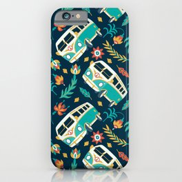 Retro Van Floral Pattern iPhone Case