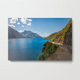 Scenic winding road at Lake Wakatipu, New Zealand Metal Print
