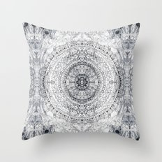 Black&white Mandala - & Grey Blue Throw Pillow