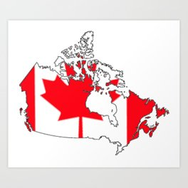 Canada Map with Canadian Flag Art Print