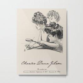 Pencil drawing -Charles Dana Gibson-The weaker sex.  Metal Print