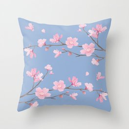 Cherry Blossom - Serenity Blue Throw Pillow