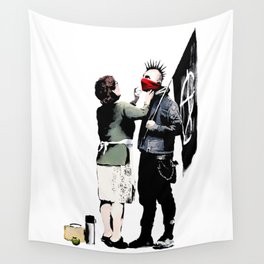 Banksy, Anarchist Punk And His Mother Artwork, Posters, Prints, Bags, Tshirts, Men, Women, Kids Wall Tapestry