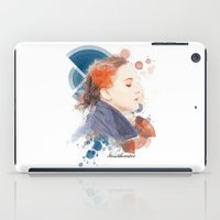 jennifer lawrence iPad Cases featuring Jennifer Lawrence (Deco Art) by Rene Alberto