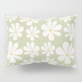 Floral Daisy Pattern - Green Pillow Sham