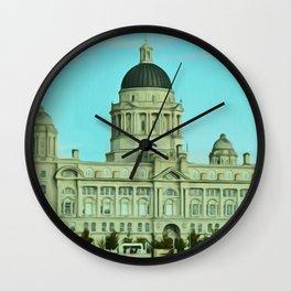 Port of Liverpool Building (Digital Art) Wall Clock
