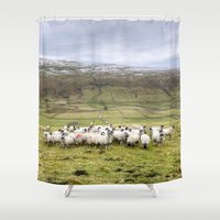 sheep Shower Curtains featuring Sheep by Gouzelka