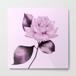 simple satiny pink rose Metal Print