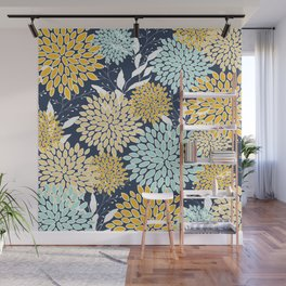 Floral Prints and Leaves, Navy Blue, Yellow, Aqua Wall Mural