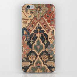 Geometric Leaves I // 18th Century Distressed Red Blue Green Colorful Ornate Accent Rug Pattern iPhone Skin