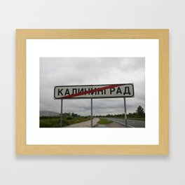 Russian road sign - end of city Kaliningrad Framed Art Print