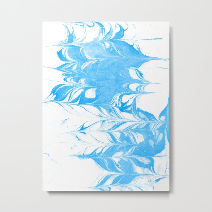 Suminagashi blue and white 1 marble spilled ink ocean swirl watercolor painting Metal Print