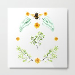 Bees in the Garden v.2 - Watercolor Graphic Metal Print