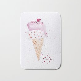 Ice cream Love watercolor illustration summer love pink strawberry Bath Mat