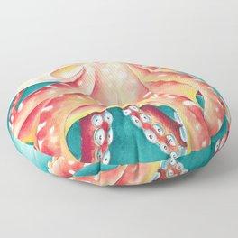 Red Orange Octopus Watercolor Art Close Up Floor Pillow
