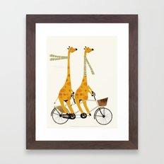 lets tandem giraffes Framed Art Print