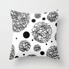 Scribbles - Black and white scribbles and black circles pattern on white Throw Pillow