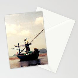 stranded fishing boat, thailand Stationery Cards