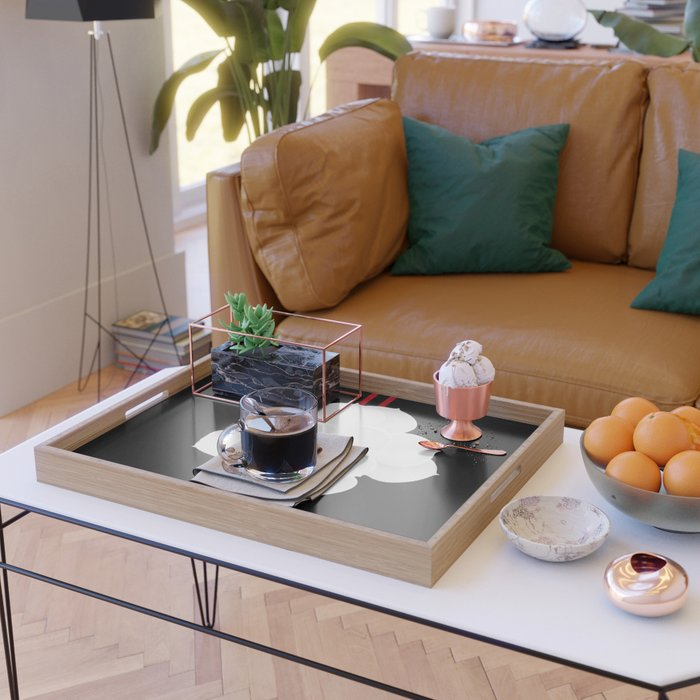 White Succulent On Black #decor #society6 #buyart Serving Tray