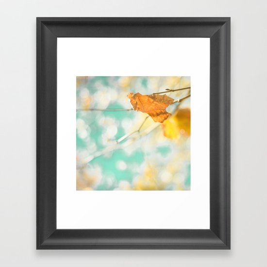 Gold Autumn Fall Leafs on Dreamy Blue Turquoise Vintage Retro Sky  Framed Art Print