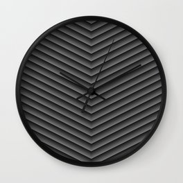 Charcoal Black Chevron Wall Clock