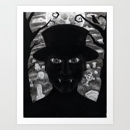 Untitled - charcoal drawing - spooky Art Print