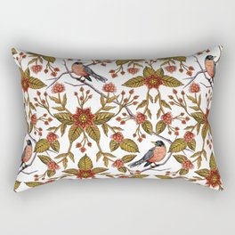 New Beginnings - Spring/Summer Floral Pattern With Robins, Branches & Flowers Rectangular Pillow