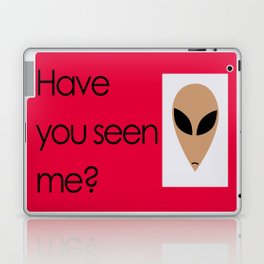 """Have you seen me?"" Alien poster with red background Laptop & iPad Skin"