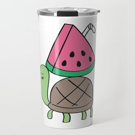 Turtle with Watermelon Drink Travel Mug
