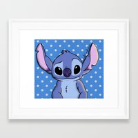 lilo and stitch Framed Art Prints featuring Lilo and Stitch - Stitch by Julia Kolos