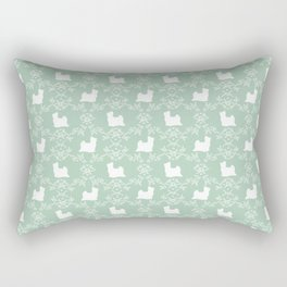 Biewer Terrier floral dog breed cute minimal pet art silhouette mint and white Rectangular Pillow