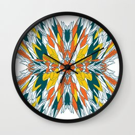 Colorful geometric abstract plant design Wall Clock